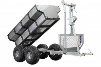 ATV houttrailer + laadbak + kraan