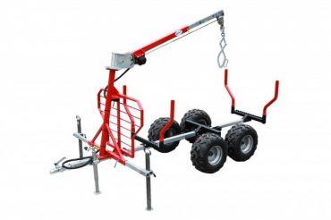 ATV hout aanhangwagen + kraan + lier